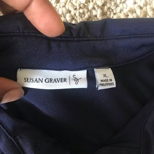 Susan Graver Tops - A navy blue shirt, with golden buttons.💙💙